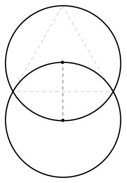 Vesica Piscis with radius and equilateral triangle (The Vishaal Newsletter 7.4, p. 18)
